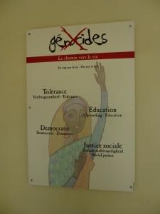 Educational poster at Kigali genocide memorial.